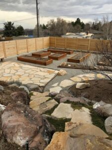 Back Yard Landscape Grow Boxes
