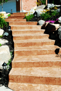 Colored and Textured Concrete Steps