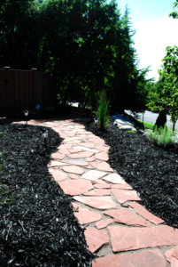 Colored Mulch and Red Sandstone Pathways