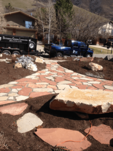 Flagstone Patio, Pathway and Rock Bench