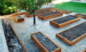 Grow Boxes and Flagstone Garden