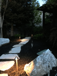 Natural Flagstone Pathway and Lighting