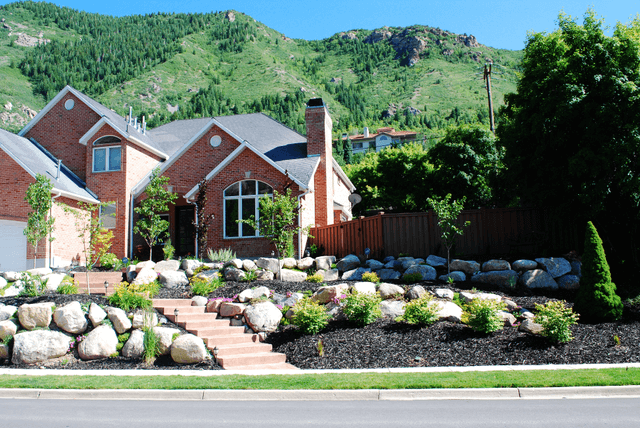 Rock Retaining Walls and Plantings
