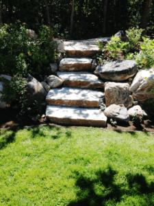Rock Steps in Rock Retaining Wall